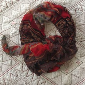 Red tribal print scarf
